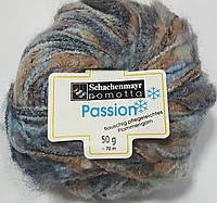 Нитки для вязания шерсть акрил пряжа Меланж голубой