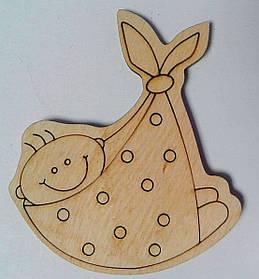 """Дерев'яна розмальовка На магніті """"Малюк в сумці"""" №8 2-042 Ідейка Китай"""