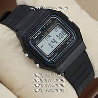 Сдержанные мужские наручные часы Casio F-91W Water Resist Black