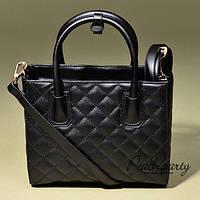 Яркая чёрная стеганая кожаная сумка в стиле Chanel. Женский аксесуар. Хорошее качество. Код: КГ26