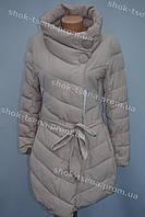 Молодежная женская зимняя куртка стиль 2016/2017 бежевая