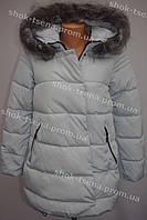 Молодежная женская зимняя куртка стиль 2016/2017 серая