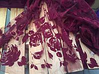 Ткань Гипюр на сетке    бардовый с бархатным напылением АРТ ТЕКСТИЛЬ