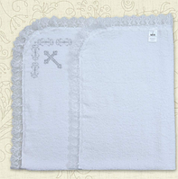 Крыжма для крещения Оберіг-2 с вышивкой Махра 80х90 см  Белый / Молочный цвет Бетис