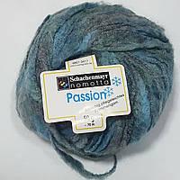 Нитки для вязания шерсть акрил пряжа Меланж синий