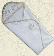 Крыжма для крещения Святість двойная с вышивкой велюр, кулир 75х100 см Белый / Молочный цвет Бетис
