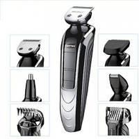 Набор для стрижки Gemei GM-582, для волос и бороды, 5 насадок, +триммер для носа.