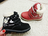 Детские зимние ботинки для девочек на липучках CSCK.S оптом Размеры 26-31