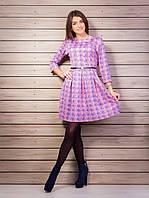 Платье прямого пошива из дайвинга перламутрового цвета