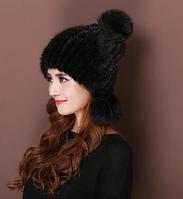 Женская норковая шапка с бубоном из лисы чёрная