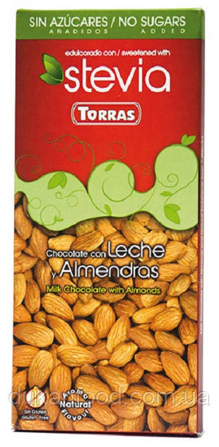 Torras Молочный шоколад с МИНДАЛЕМ и стевией , без сахара