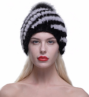 Женские норковые шапки с бубоном. Черная с белыми полосками на подкладке