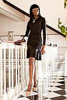 Стильное Замшевое Платье с Воланами Черное S-XL