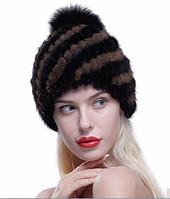 Женская норковая шапка с бубоном. Черная с коричневымиполосками на подкладке