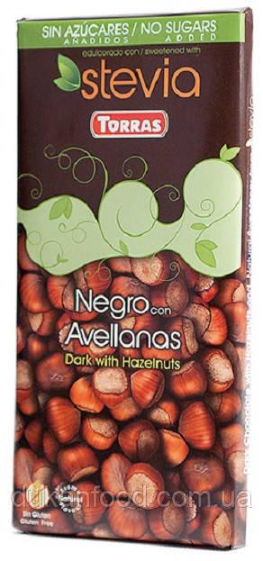 Torras Черный шоколад с ФУНДУКОМ и стевией , без сахара