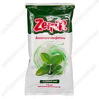 Салфетки влажные Zeffir, зеленый чай 15шт/уп.