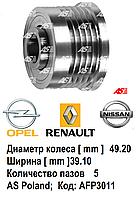 Обгонная муфта, шкив генератора Opel Vivaro 1.9 D/DTi/CDTi. Пять пазов (5PK). Без кондиционера. AFP3011