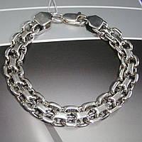 Шикарный серебряный мужской браслет, 220мм, 38 грамм, плетение Двойной Якорь