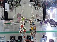 Интересные серьги с мультикамнями в серебре. Индия!