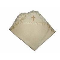 Крыжма для крещения Святкова-2 с вышивкой Махра  Белый / Молочный цвет 80х90 см Бетис