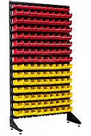 Складской стеллаж односторонний с пластиковыми лотками