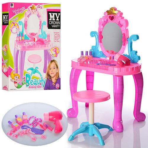 Туалетный столик 661-39,музыка, свет, на батарейках,со стульчиком, с аксессуарами, отличный подарок для модниц