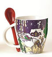 Чашка Зимний пейзаж с ложкой 350 мл -керамика