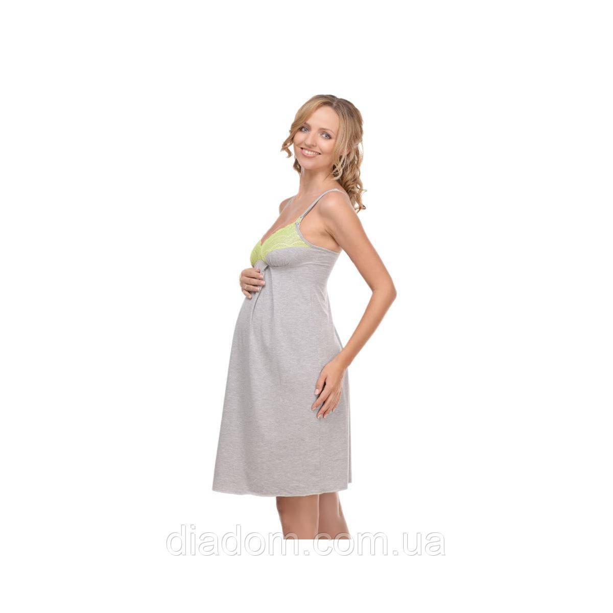 Ночная рубашка Меланж для беременных и кормящих мам серая, фото 1