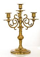 Старый канделябр на четыре свечи, подсвечник, латунь, Германия
