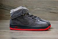 Кроссовки Nike Air Force 1 Hi Suede Grey/Gum (C мехом) мужские 43