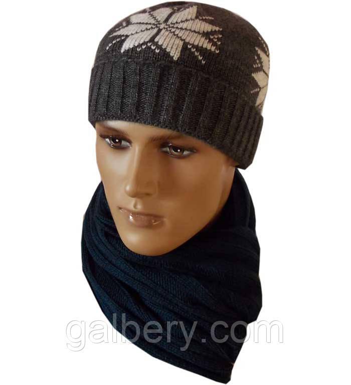 """Чоловіча в'язана шапка (утеплений варіант) """"Сніжок"""" з норвезьким орнаментом"""