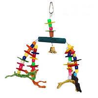 """Игрушка Montana Cages H77122 """"Морская ручка дерево+колокольчик"""" для попугаев 27 см/12 см/30 см"""