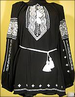 """Вишиванка жіноча """"Дві дороги"""" на чорному шифоні, блузка вишита білими нитками, машинна вишивка"""