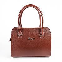 Коричневая дамская сумка М50-41 саквояж в деловом каркасном стиле с трубчатыми ручками