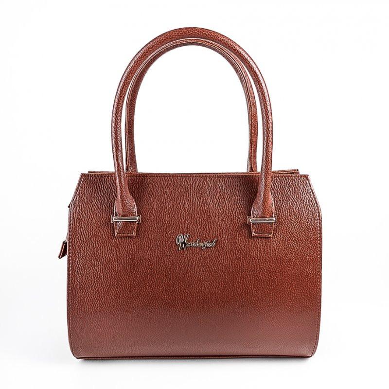 ac493681e3fd Коричневая дамская сумка М50-41 саквояж в деловом каркасном стиле с  трубчатыми ручками, фото