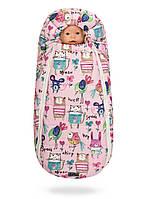 Зимний конверт-кокон Беби ХС на овчине для малышей Рисунки на розовом фоне