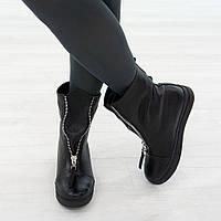 Трендовые кожаные ботинки женские на меху 36. 39. маломерные Woman's heel черные на низком ходу, фото 1