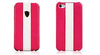 Кожаный чехол Nuoku (флип с полосой) для Apple iPhone 4/4S (+ пленка)            Розовый с белой полосой