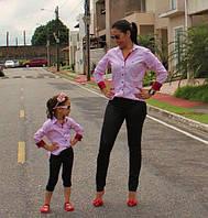Стильный набор мама и дочка рубашки и лосины