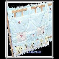 """Карман (приборник) для детской кроватки """"Пчёлки"""", 60х65 см, 100% хлопок Голубой"""