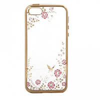 Прозрачный чехол с цветами и стразами для Apple iPhone 5/5S/SE с глянцевым бампером            Золотой/Розовые цветы