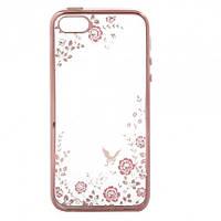 Прозрачный чехол с цветами и стразами для Apple iPhone 5/5S/SE с глянцевым бампером            Розовый золотой/Розовые цветы