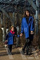 Набор пальто мама и дочка. Пальто кашемировое на пуговице с накладными карманами