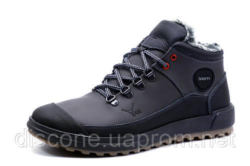 Зимние ботинки мужские ЕССО Biom, на меху, натуральная кожа, черные