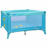 Манеж кровать складной голубой