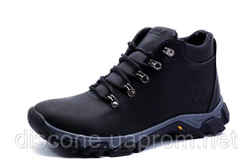 Зимние мужские ботинки Timberland на меху, натуральная кожа, черные, р. 40