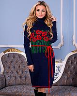 Вязаное платье Бамбук синий+красный 42-48