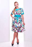 Женственное летнее платье Кристина белая(бирюза)
