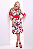 Женственное летнее платье Кристина белая(коралл)