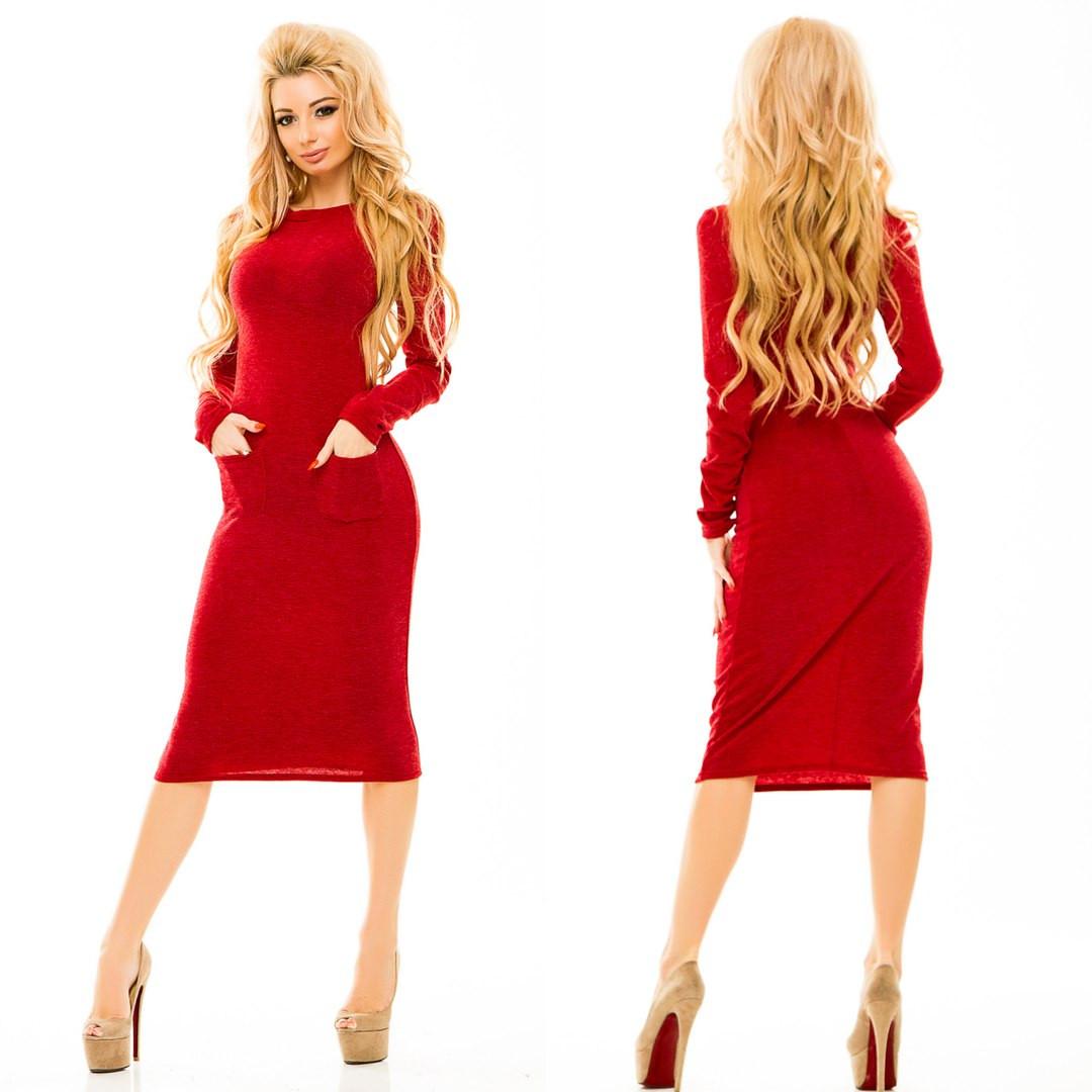 06e9769ed4f Теплое женское платье миди трикотаж-ангора красное - Стильная женская  одежда оптом